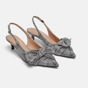 Zara Glen Plaid Check Slingback Kitten Heels NWT